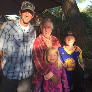 """Jaason and his kids with """"The Fonz"""""""