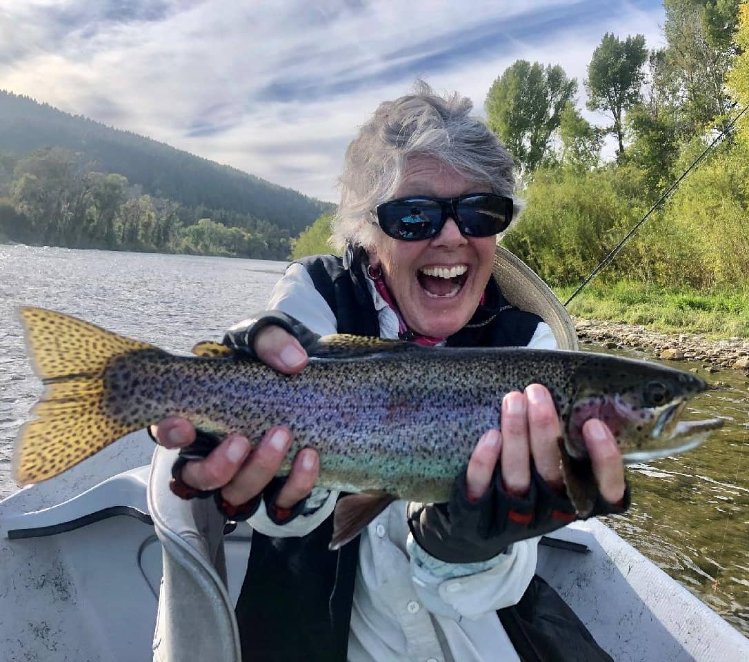 south fork rainbow trout and happy angler